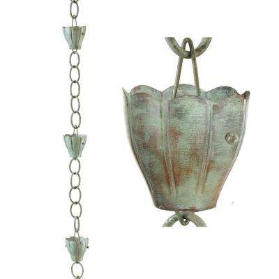 8.5 ft. 6-Cup Crocus Pure Copper Rain Chain