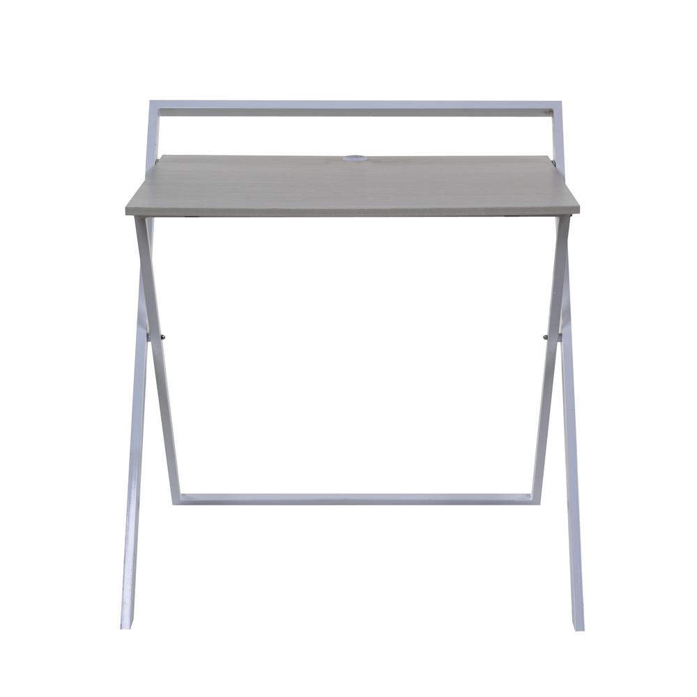 Onespace No Assembly Whitewashed Oak And White Folding Desk With Dual Usb Charger