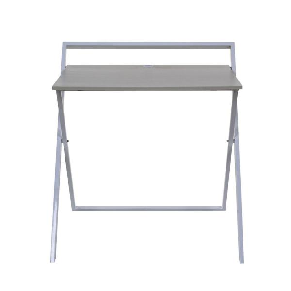No Embly Whitewashed Oak And White Folding Desk With Dual Usb Charger