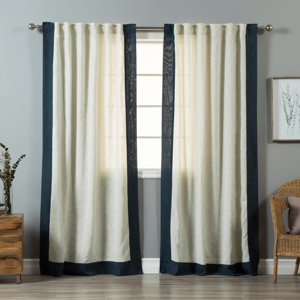 84 in. L Flax Linen Blend Indigo Blue Bordered Curtains (2-Pack)