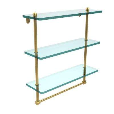 16 in. L  x 18 in. H  x 5 in. W 3-Tier Clear Glass Bathroom Shelf with Towel Bar in Polished Brass