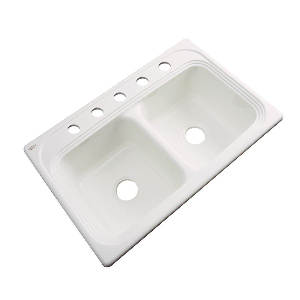 Chesapeake Drop-In Acrylic 33 in. 5-Hole Double Bowl Kitchen Sink in