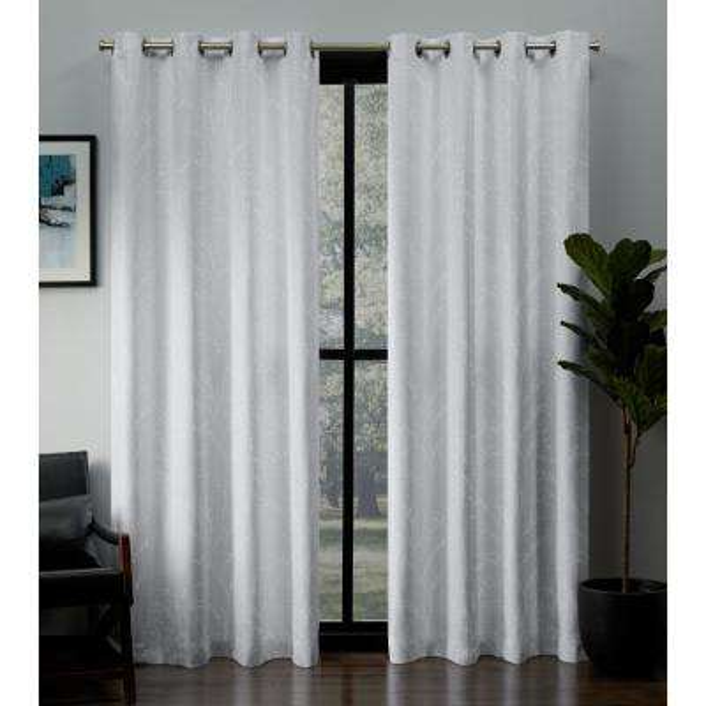 Kilberry 52 in. W x 96 in. L Woven Blackout Grommet Top Curtain Panel in Winter (2 Panels)