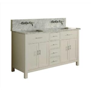 Direct vanity sink Hutton Spa Premium 63 inch Double Vanity in Pearl White with Marble Vanity Top in Carrara White by Direct vanity sink