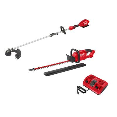 M18 FUEL 18-Volt Lithium-Ion Brushless Cordless QUIK-LOK String Trimmer, Hedge Trimmer and Charger Combo Kit (3-Tool)
