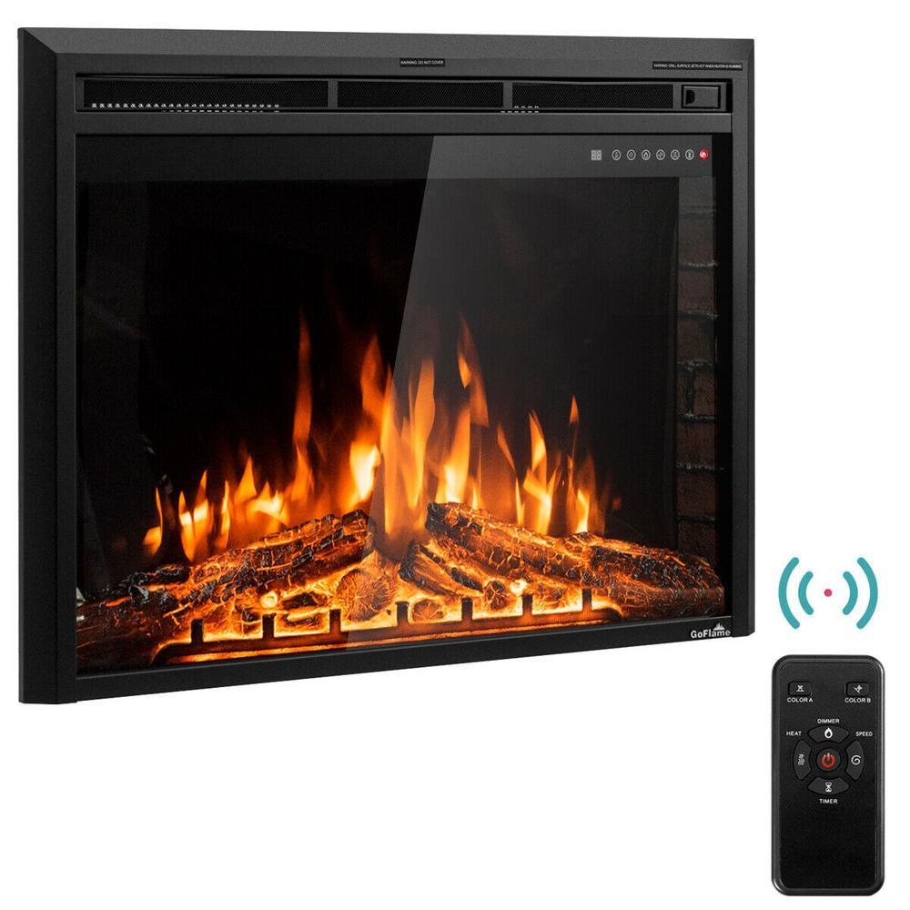 9 in. W x 27 in. H 750-Watt to 1500-Watt Electric Fireplace Insert Freestanding Wall Mounted Stove Heater Touch in Black