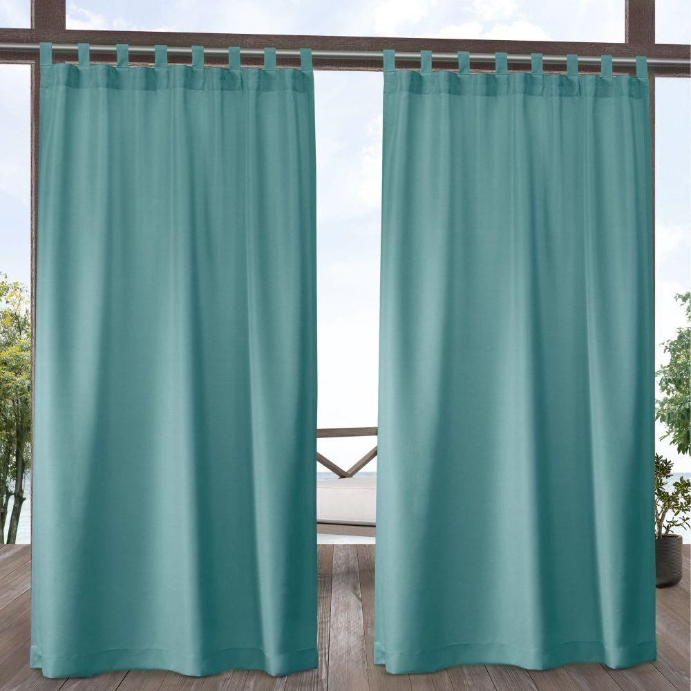 Indoor/Outdoor Solid Cabana Teal Light Filtering Tab Top