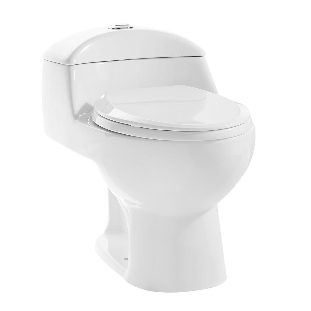 Swiss Madison Cau 1 Piece 0 8 28 Gpf Dual Flush Elongated Toilet In White