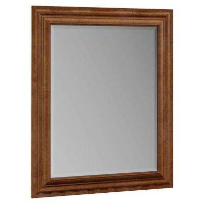 Oxford 29 in. x 35-1/4 in. Single Framed Vanity Mirror in Toasted Almond