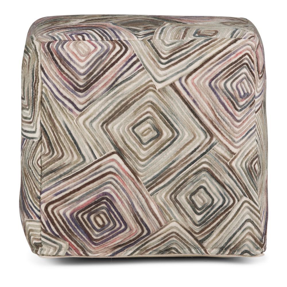 Jodi Patterned Multi Color Cube Pouf