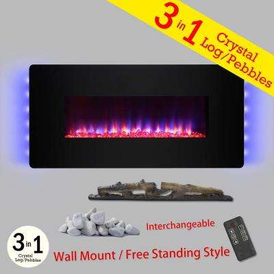 36 in. Wall Mount Freestanding Convertible Electric Fireplace Heater in Black with Pebbles Logs Crystal Remote Control