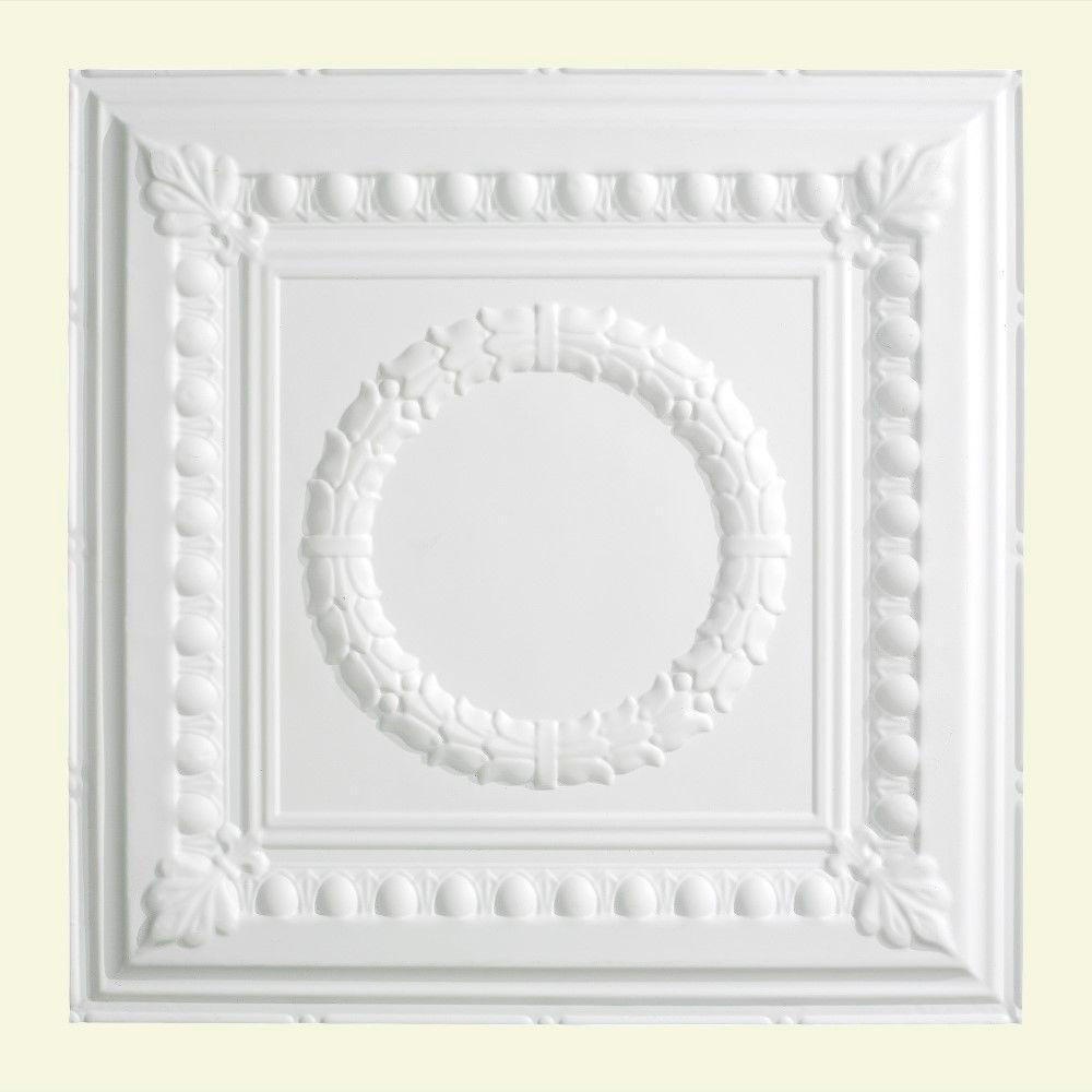 Fasade Rosette 2 Ft X 2 Ft Lay In Ceiling Tile In Matte White L57