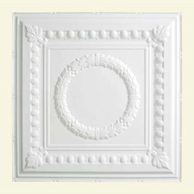 Rosette 2 ft. x 2 ft. Lay-in Ceiling Tile in Matte White