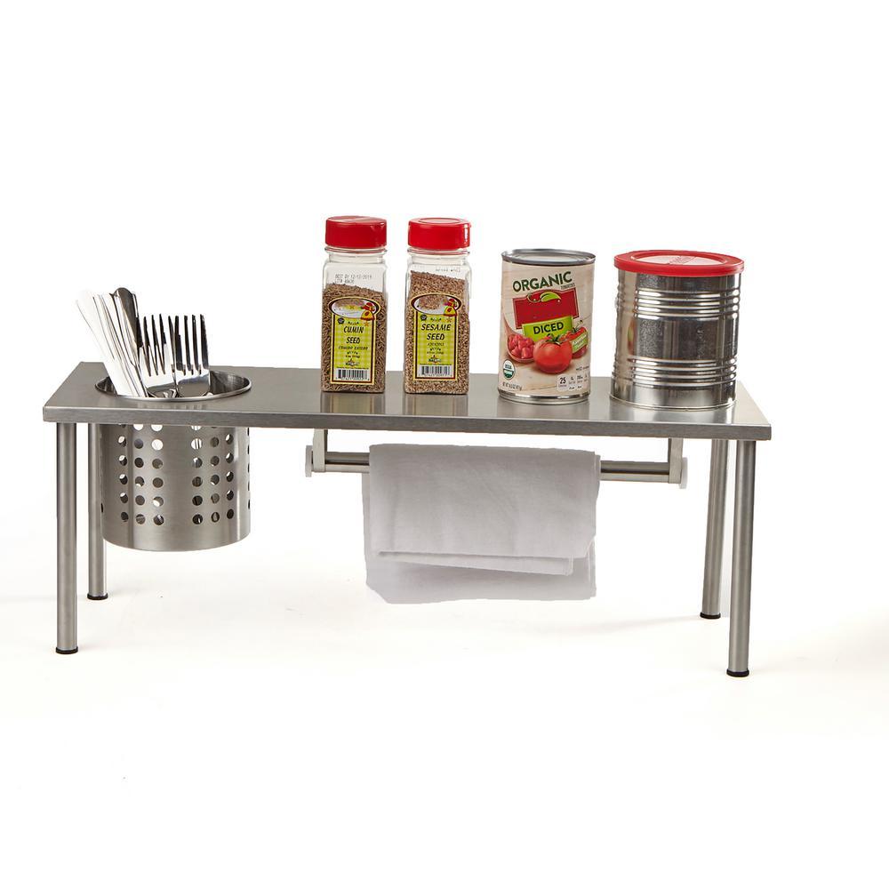 Mind Reader 1-Shelf Countertop Spice Rack Kitchen Rack Storage Organizer in Silver