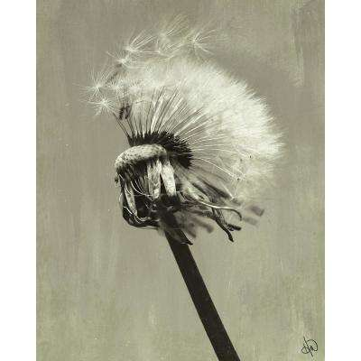 """11 in. x 14 in. """"Dandelion Seeds in Olive"""" Planked Wood Wall Art Print"""