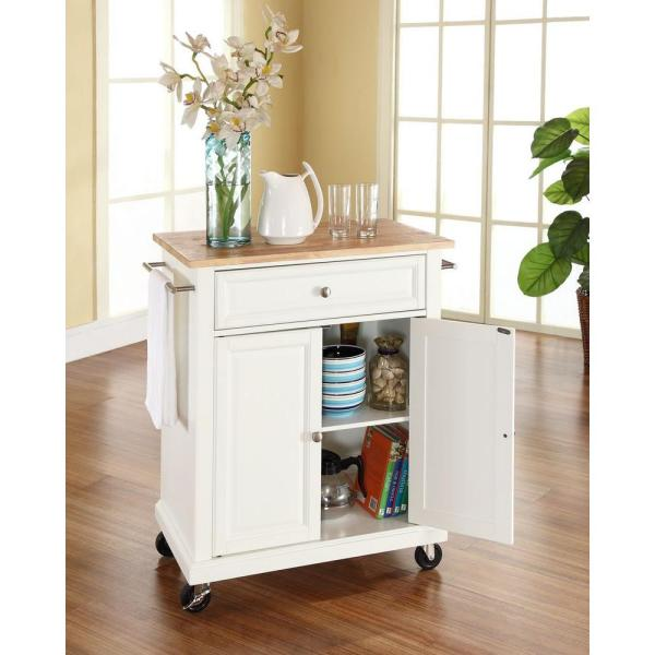 Crosley White Kitchen Cart With Natural Wood Top