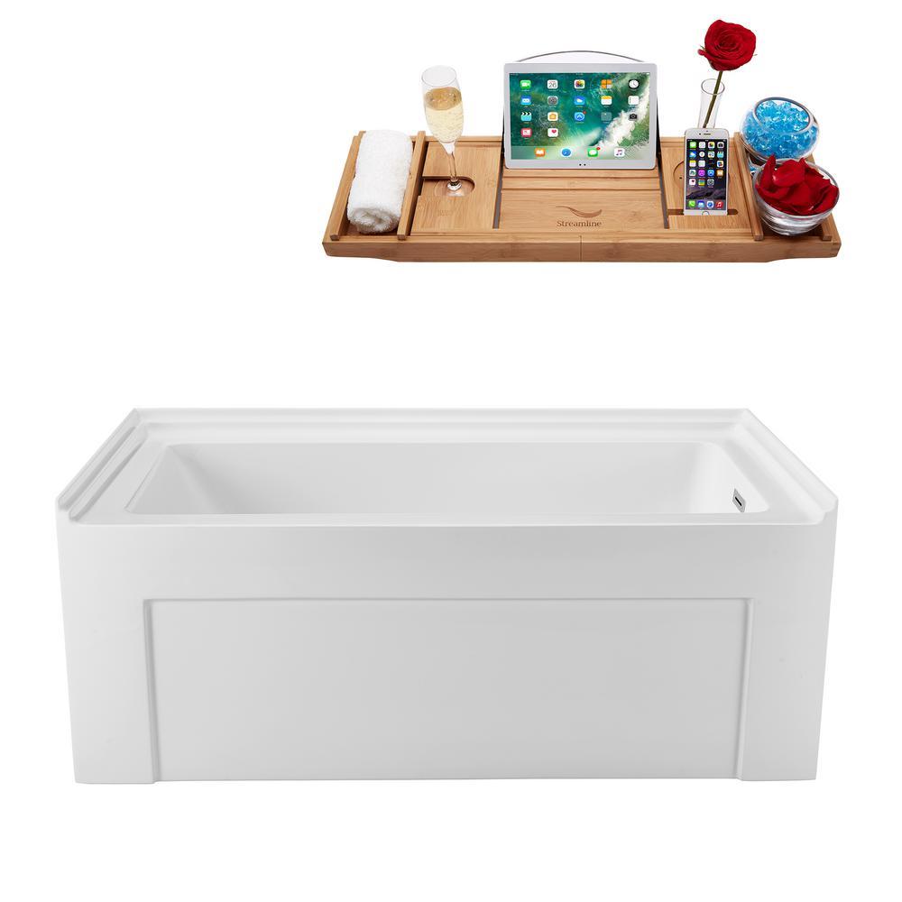 60 in. Acrylic Right Hand Drain Rectangle Alcove Non-Whirlpool Bathtub in White