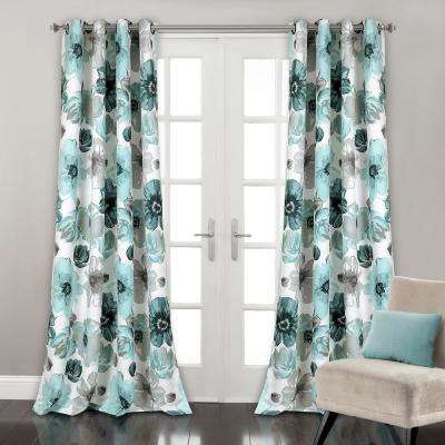 Leah 84 in. x 52 in. 100% Polyester Window Panels in Blue