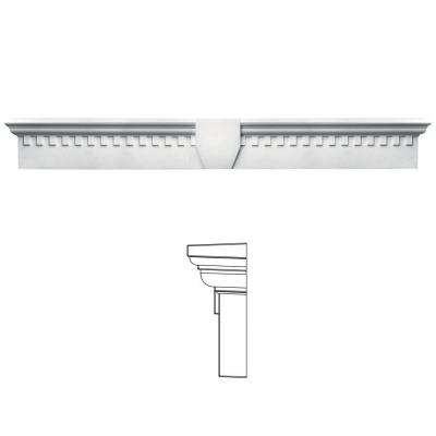 9 in. x 73 5/8 in. Classic Dentil Window Header with Keystone in 117 Bright White