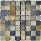 Crag Square Multi Grey 11-3/4 in. x 11-3/4 in. x 11 mm Slate Mosaic Tile