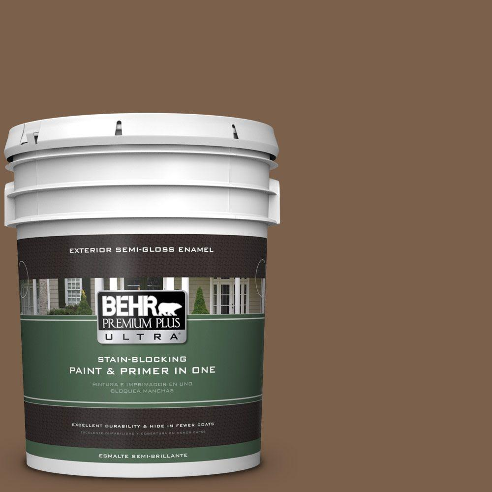 BEHR Premium Plus Ultra 5-gal. #PMD-60 Rich Walnut Semi-Gloss Enamel Exterior Paint