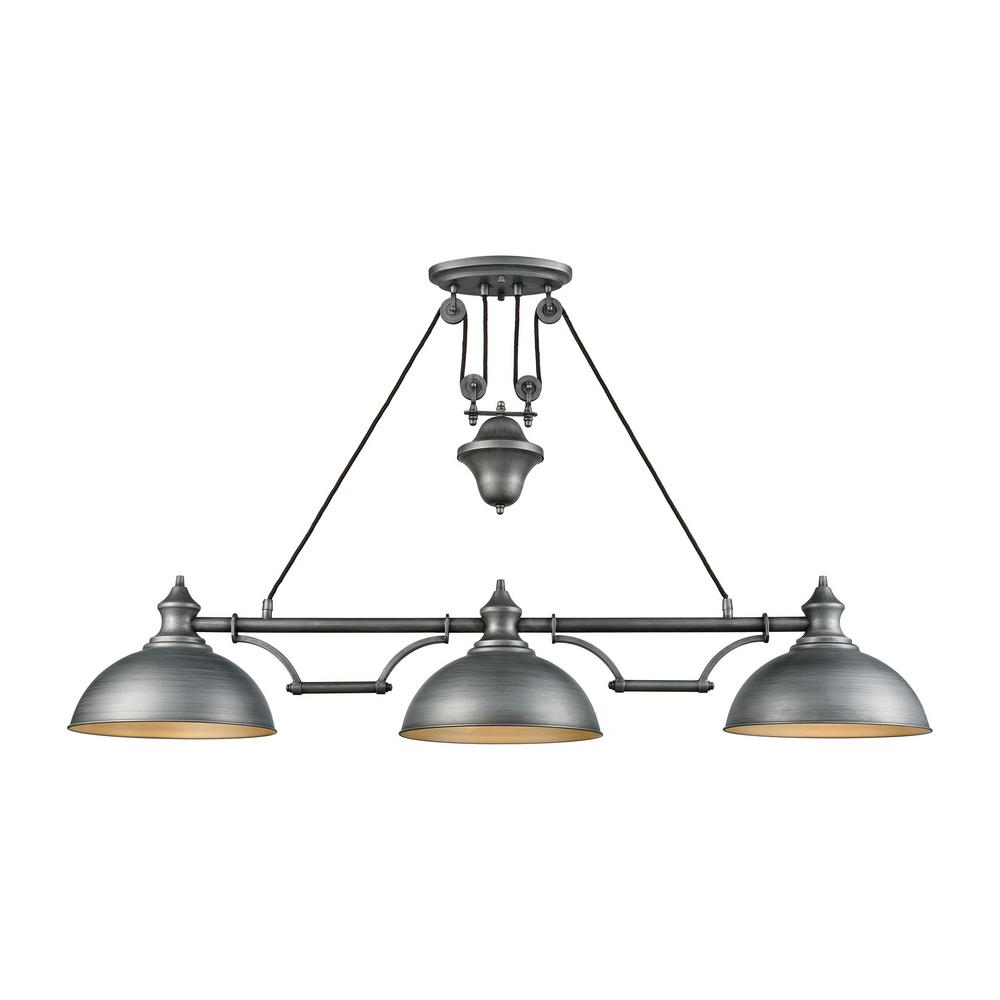 Titan lighting farmhouse 3 light weathered zinc pulldown billiard titan lighting farmhouse 3 light weathered zinc pulldown billiard light arubaitofo Choice Image