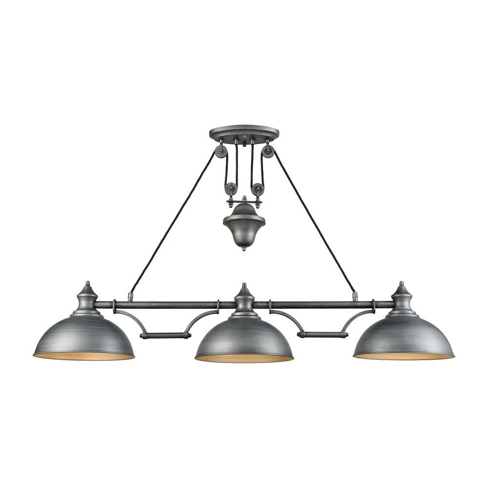Titan Lighting Farmhouse 3-Light Weathered Zinc Pulldown
