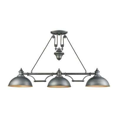 Farmhouse 3-Light Weathered Zinc Pulldown Billiard Light