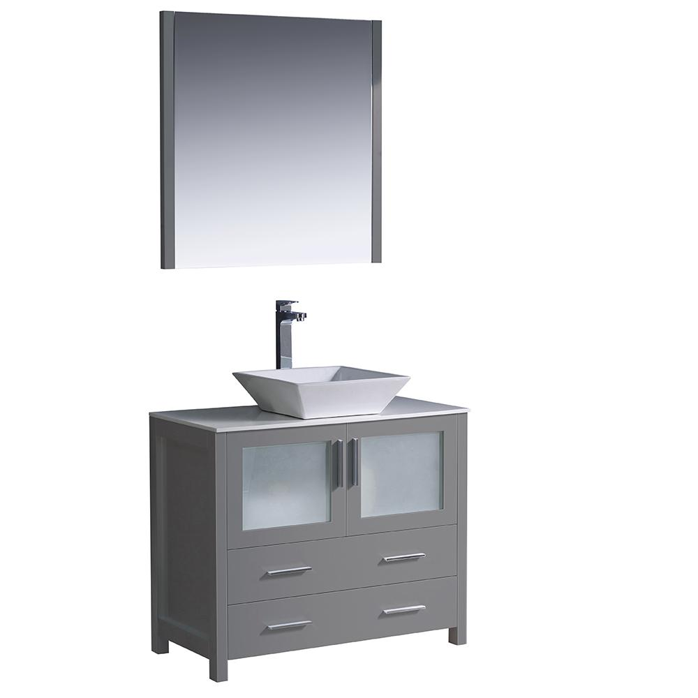 Fresca Torino 36 In Bath Vanity In Gray With Glass Stone Vanity Top