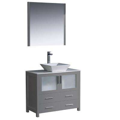 Torino 36 in. Bath Vanity in Gray with Glass Stone Vanity Top in White with White Vessel Sink and Mirror