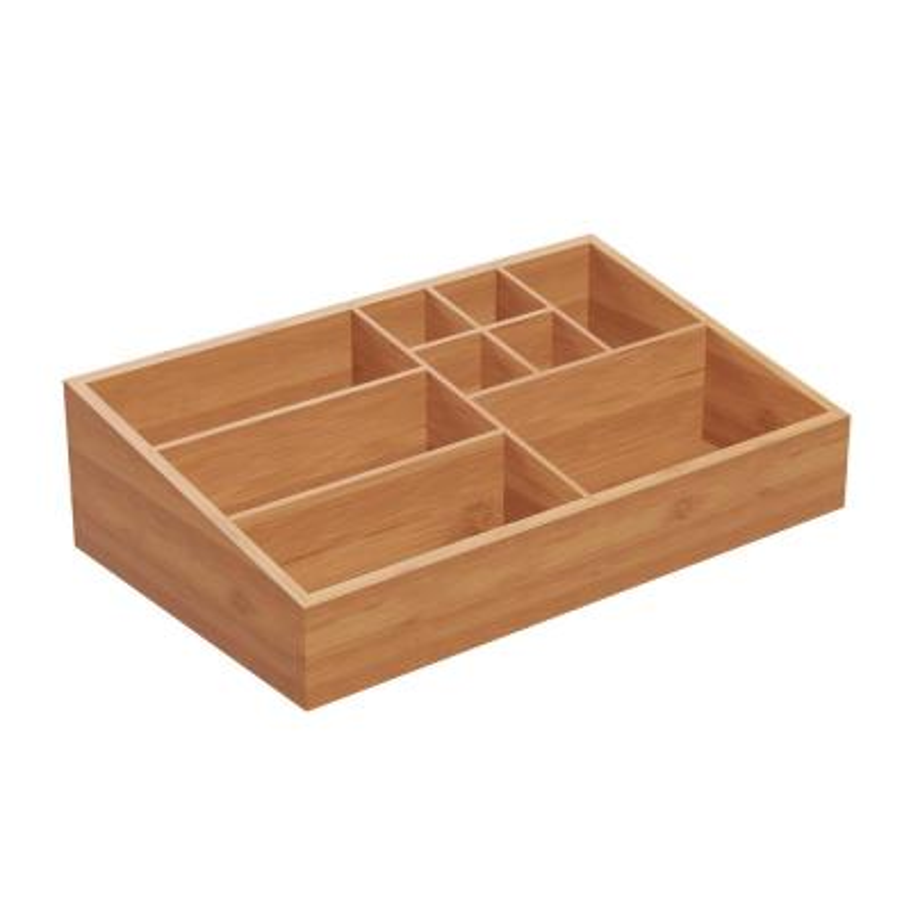 10-Compartment Bamboo Vanity Organizer