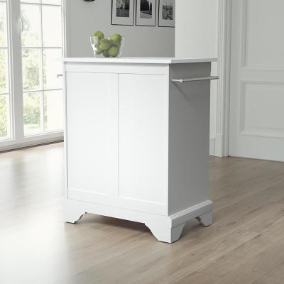 Lafayette White Portable Kitchen Island/Cart with Granite Top