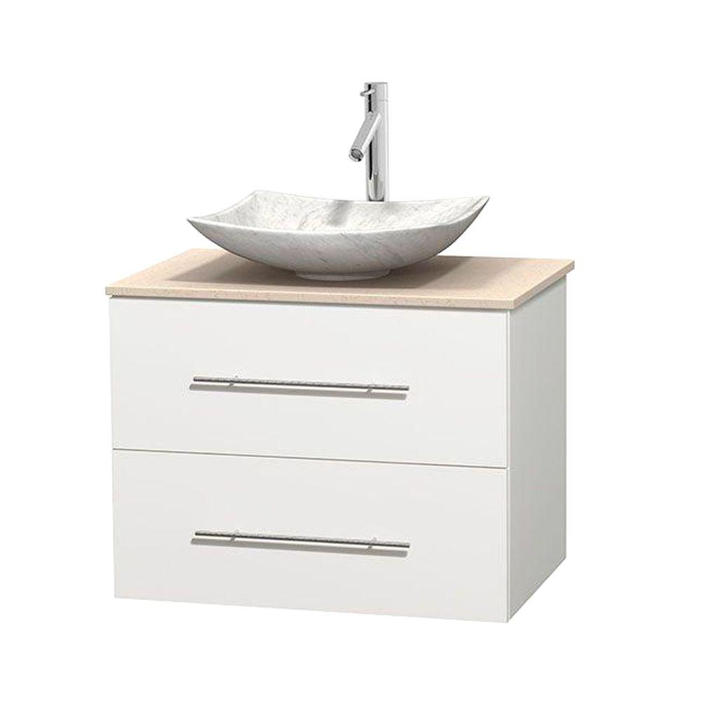Wyndham Collection Centra 30 in. Vanity in White with Marble Vanity Top in Ivory and Carrara Sink