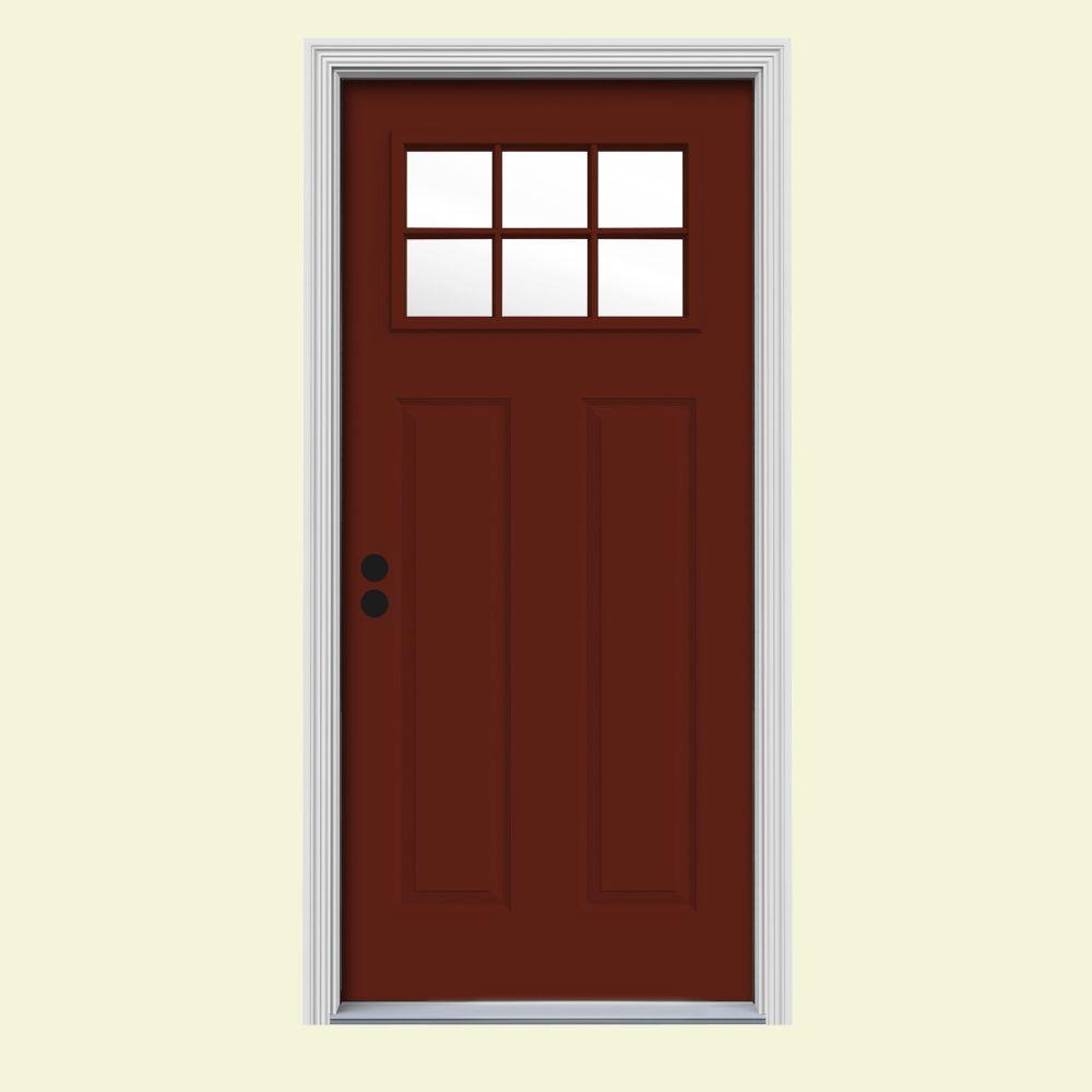 34 prehung entry door jeldwen 34 in x 80 6 lite craftsman