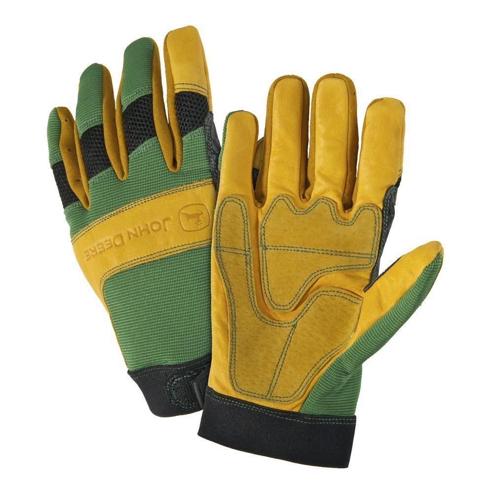 John Deere Grain Cowhide Large Spandex Back Gloves