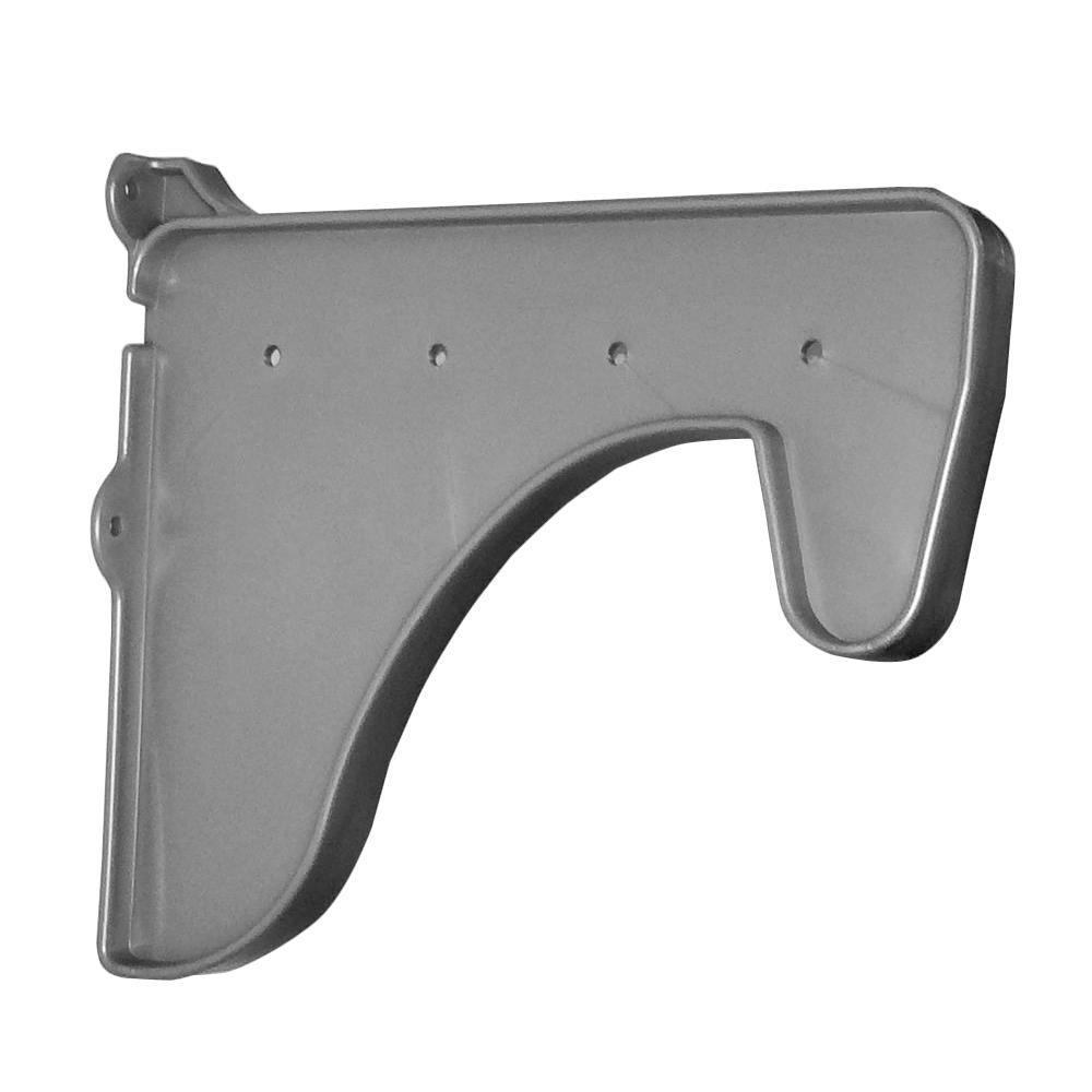 EZ Shelf 12 in. x 10 in. Silver Side End Bracket for Hanging Rod and ...