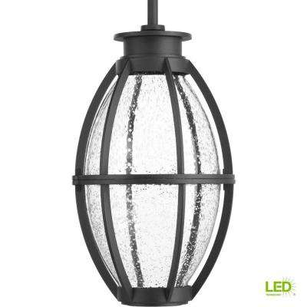 Pier 33 Collection 9-Watt Outdoor Black Integrated LED Hanging Lantern