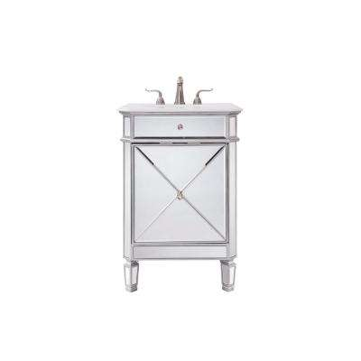 Timeless Home 24 in. W Single Bathroom Vanity in Clear Mirror with Vanity Top in White with White Basin