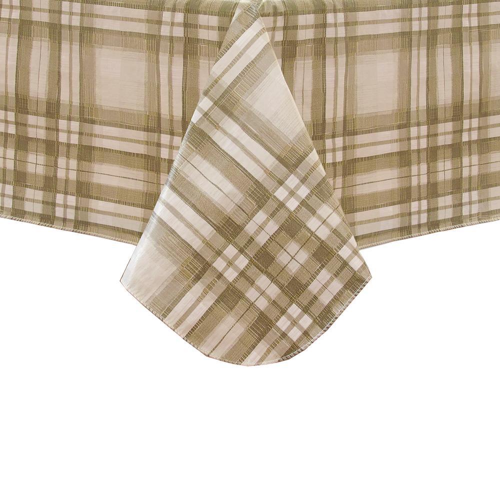 Reeve Plaid 60 inch W x 102 inch L Grey Single Vinyl Tablecloth by