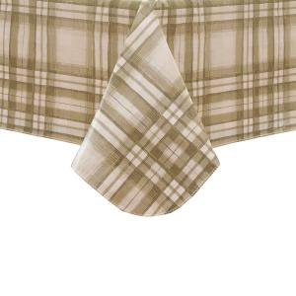 Reeve Plaid 60 inch W x 120 inch L Grey Single Vinyl Tablecloth by