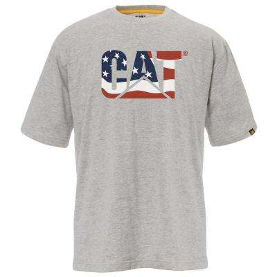Custom Logo Men's Large Heather Grey/Flag Cotton Short Sleeved T-Shirt
