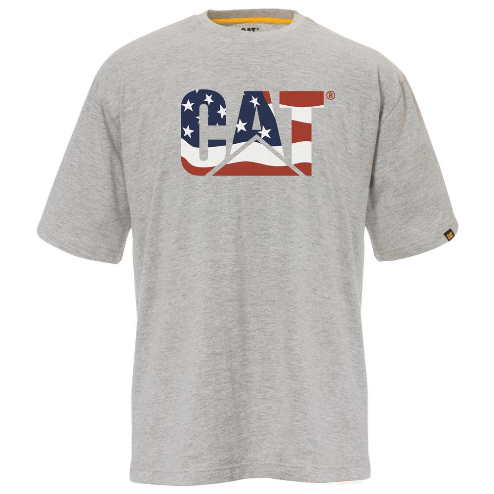 e727e681 Custom Logo Men's Medium Heather Grey/Flag Cotton Short Sleeved T-Shirt