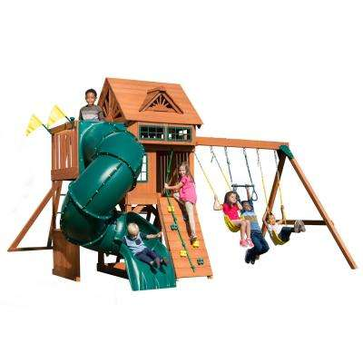Installed Sky Tower Turb Wood Complete Swing Set with 5 ft. Terrace, Monkey Bars and 5 ft. Turbo Tube Slide