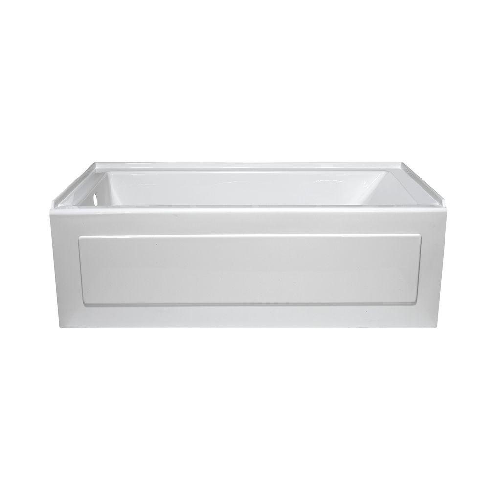Lyons Industries Linear 5 ft. Left Drain Heated Soaking Tub in White