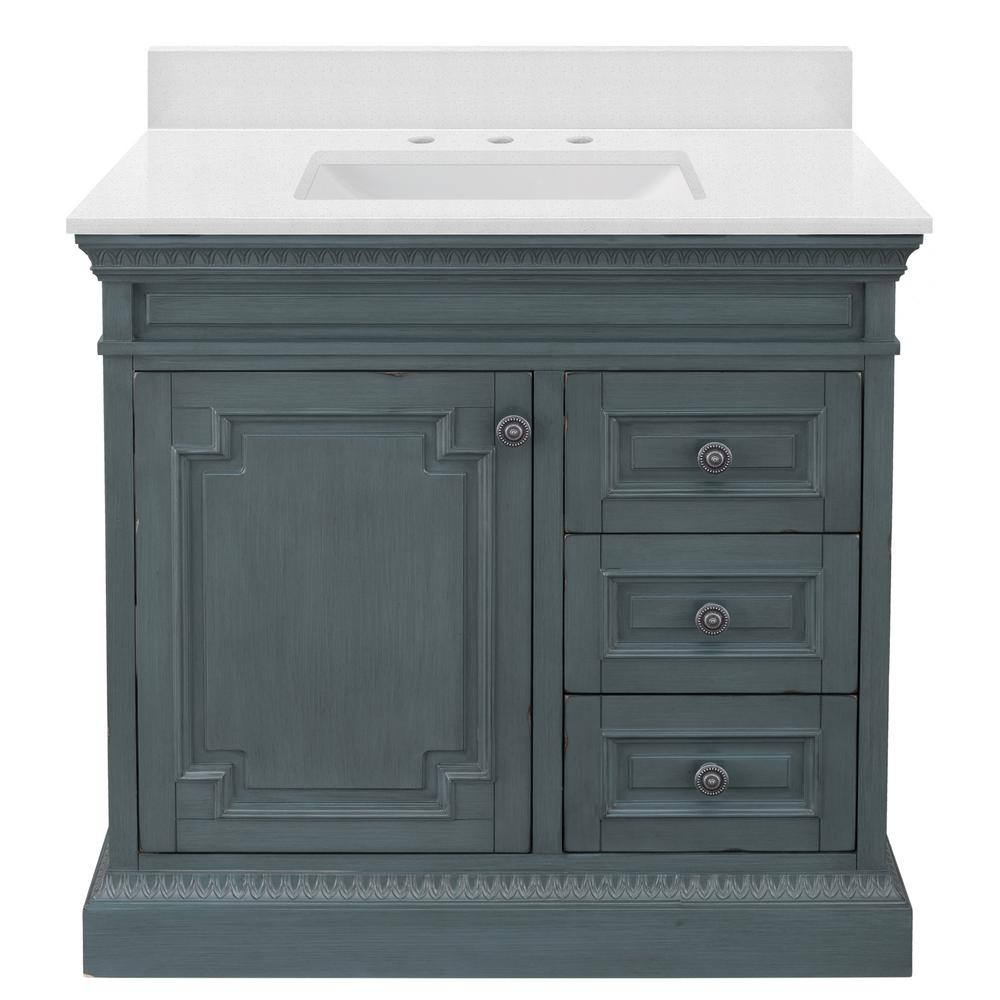Home Decorators Collection Cailla 37 in. W x 22 in. D Vanity in Distressed Blue Fog with Engineered Marble Vanity Top in Snowstorm with White Sink