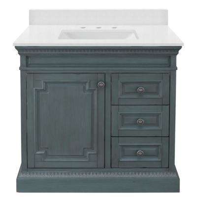Cailla 37 in. W x 22 in. D Vanity in Distressed Blue Fog with Engineered Marble Vanity Top in Snowstorm with White Sink