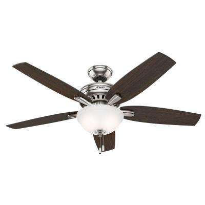 Newsome 52 in. Indoor Brushed Nickel Bowl Ceiling Fan Bundled with Light Kit and Handheld Remote Control