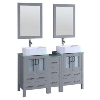 Bosconi 60 in. Double Vanity in Gray with Vanity Top in Green with White Basin and Mirror