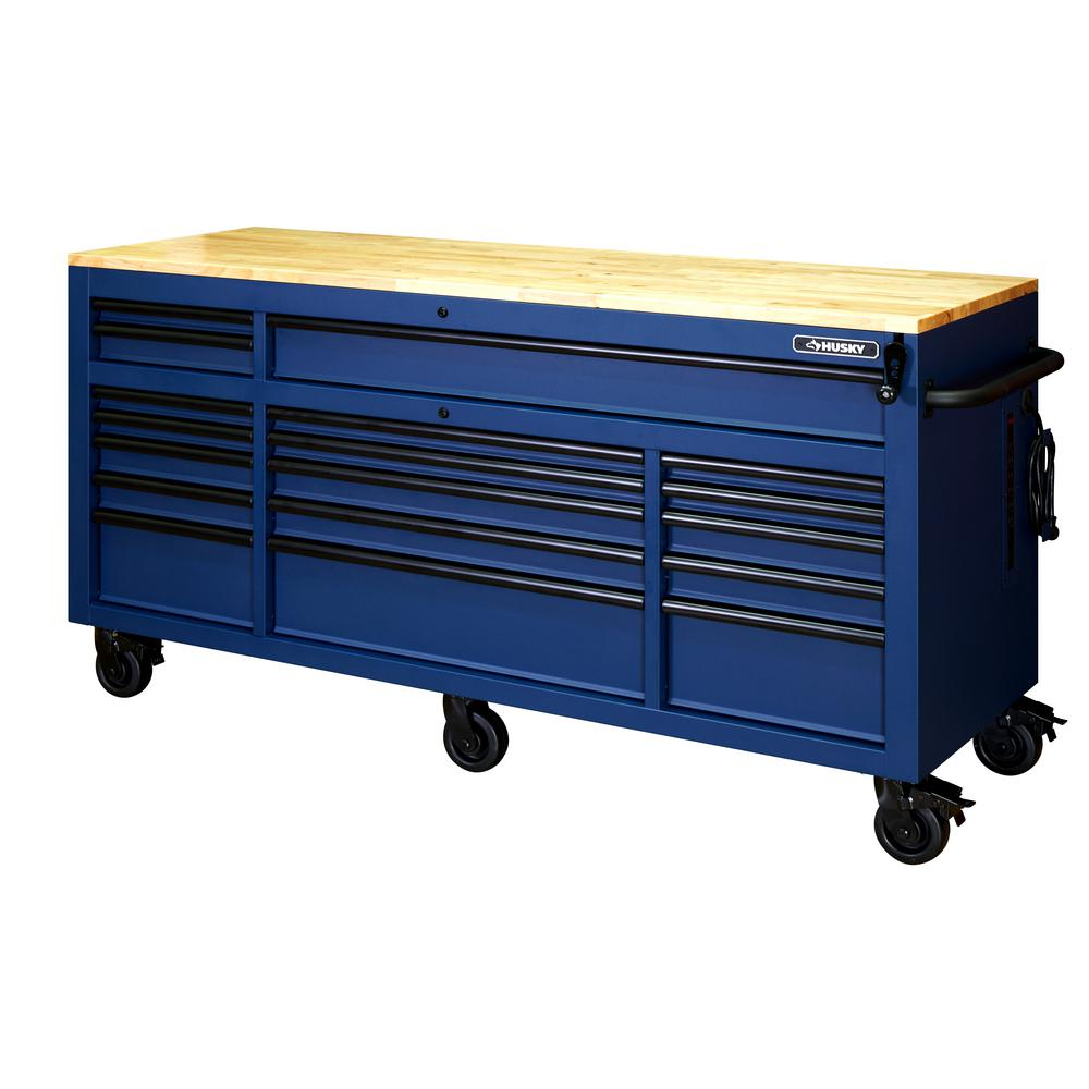Husky 72 in. 18-Drawer Mobile Workbench with Adjustable-Height Solid Wood Top in Matte Blue