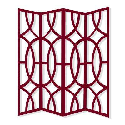 Savoy 7 ft. Red 4-Panel Room Divider
